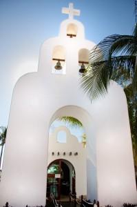 Church bell tower in Playa del Carmen